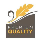Photo Premium quality whole grain logo with ears of wheat symbol