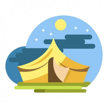 Yellow camping tent under night sky vector flat illustration