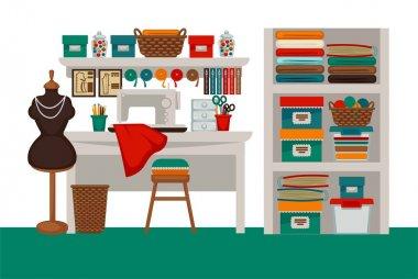 Dressmaker modiste salon workplace or atelier vector flat interior