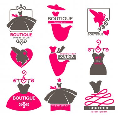 Dress boutique or fashion atelier salon vector icons set