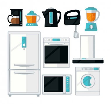 Home kitchen cooking appliances vector flat icons set