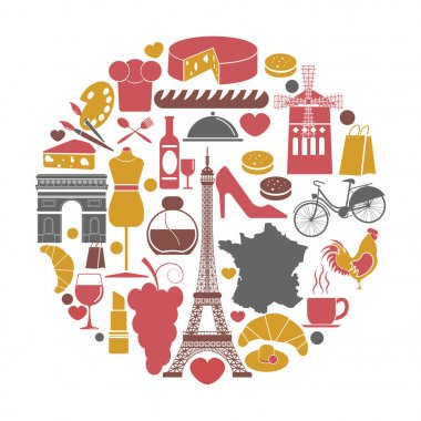 France travel sightseeing icons and vector landmarks poster