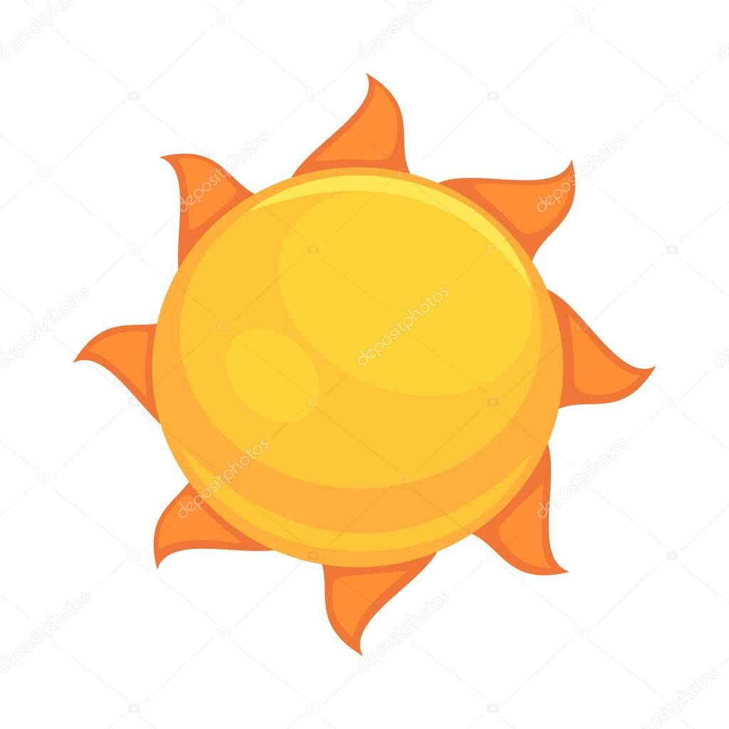 Summer yellow sun with rounded orange rays isolated on white