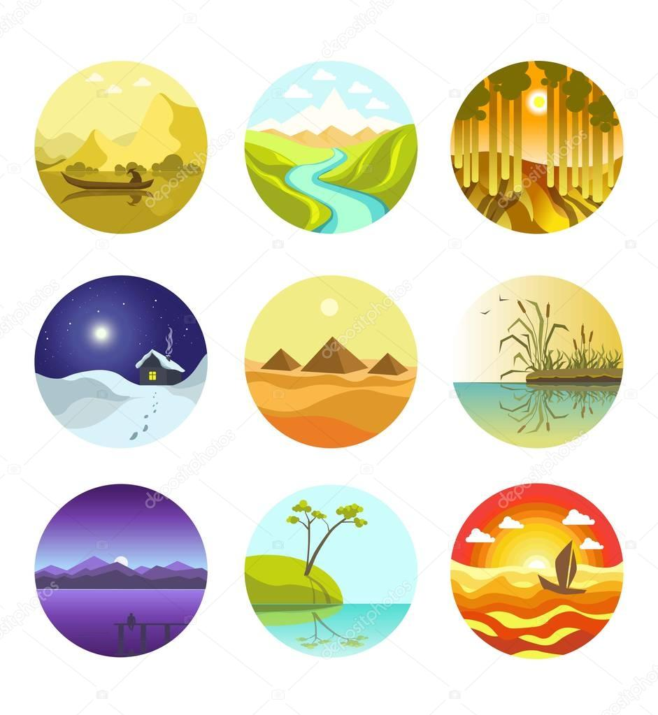 Natural landscapes circular logo icons vector banner on white
