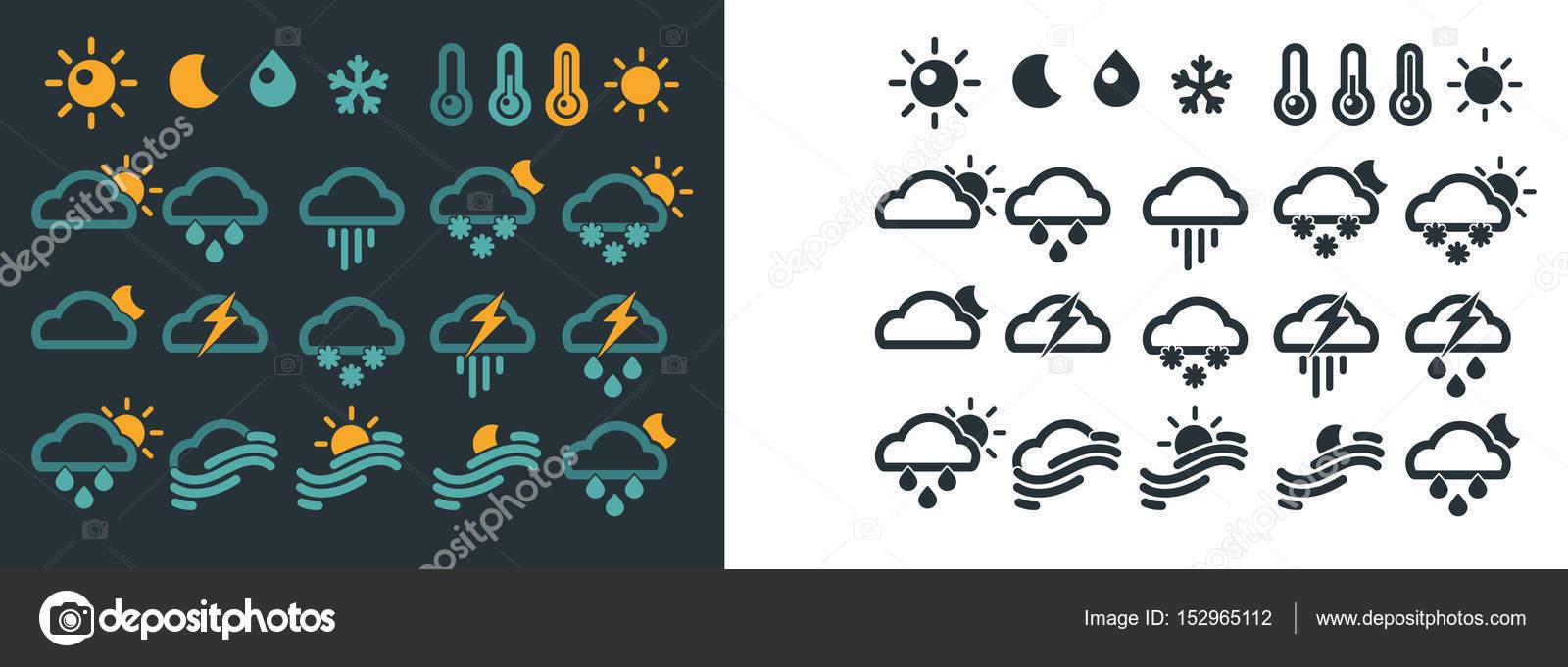 Weather Forecast Symbols Stock Vector Sonulkaster 152965112