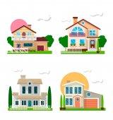 Lakó házak kertek színes készlet