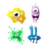 Photo Bright cartoon bacteria with funny faces