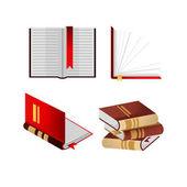 Knihy se záložkami v hromadě