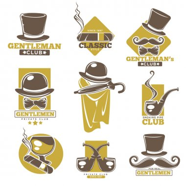 Gentlemen club logo labels set