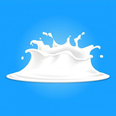 Realistic banner with white milk splashes