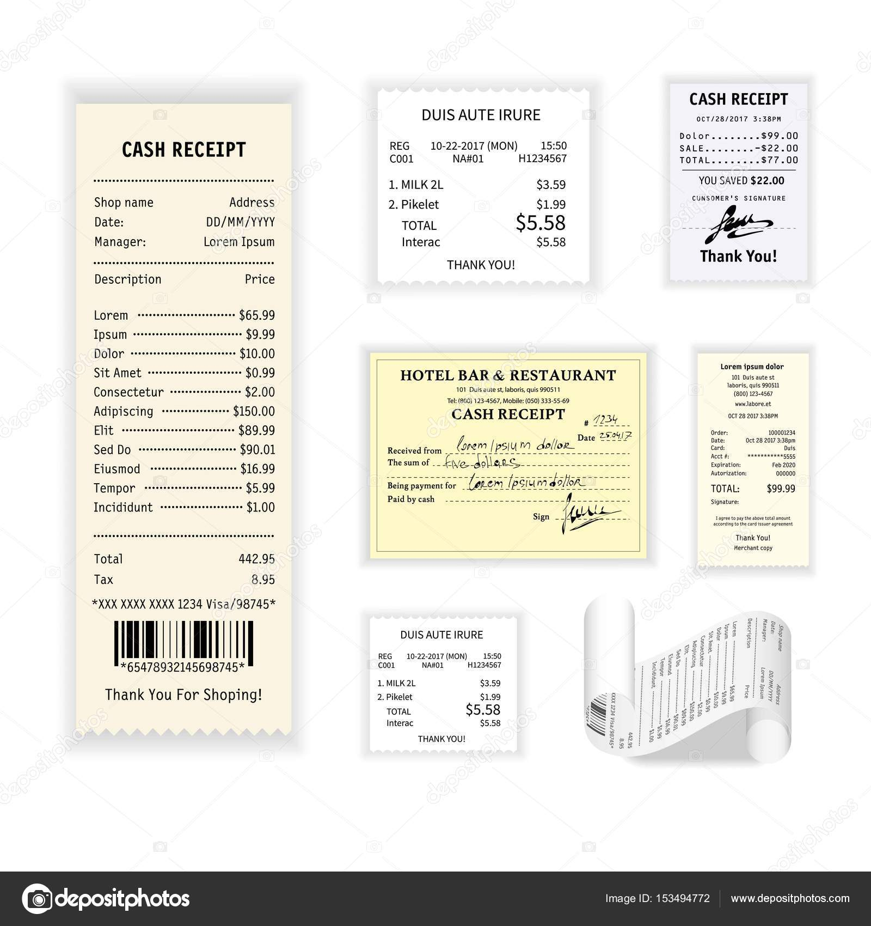 Bargeld Belege bunte poster — Stockvektor © Sonulkaster #153494772