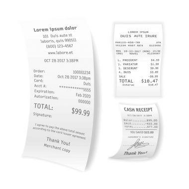 Printed cash receipts set