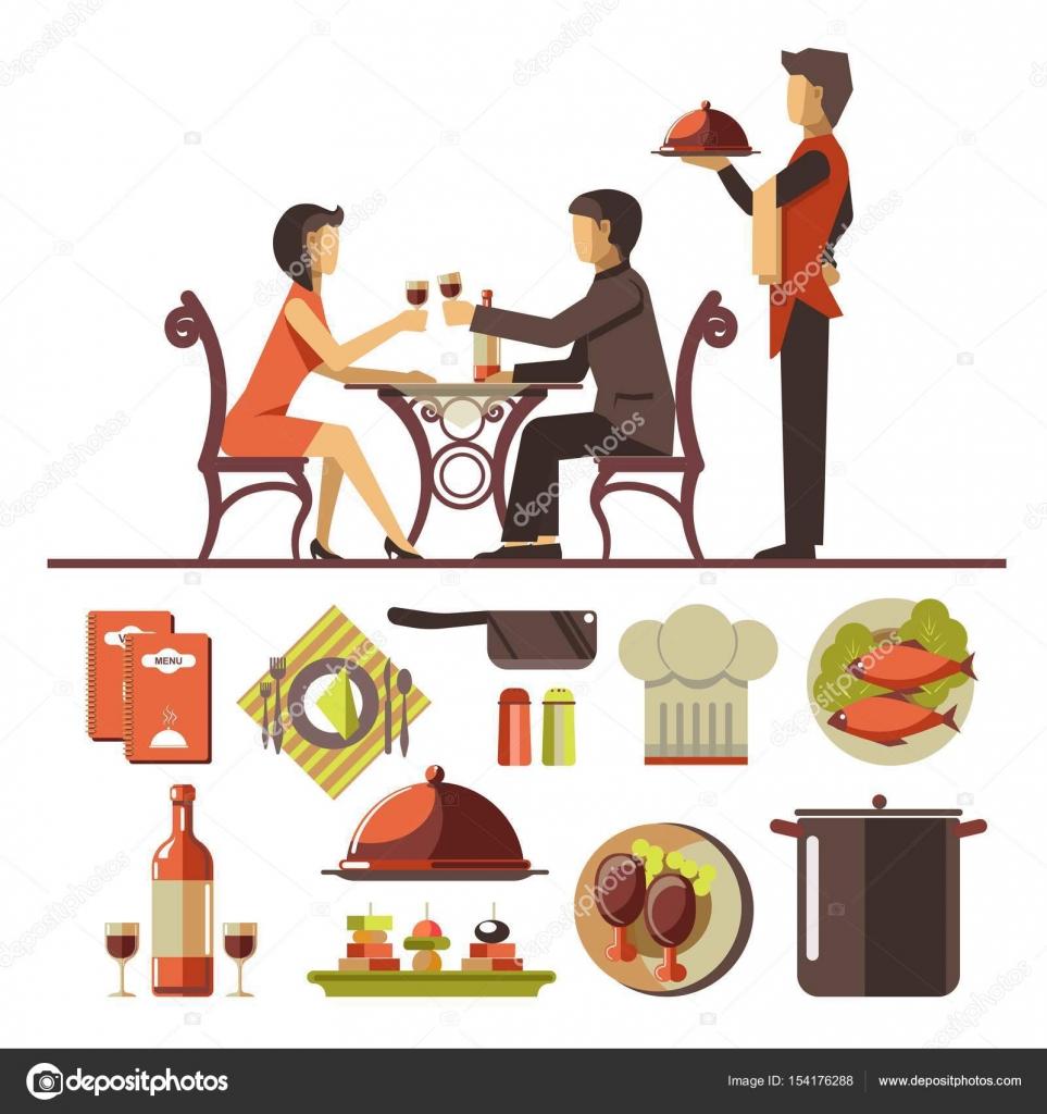 レストランでデート カップル — ストックベクター © sonulkaster #154176288