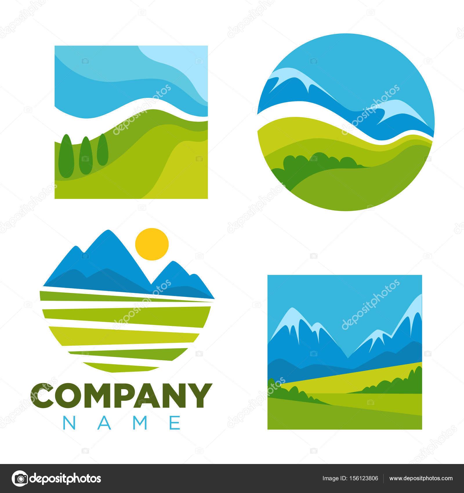 Plantillas de iconos de paisaje naturaleza verde — Vector de stock ...