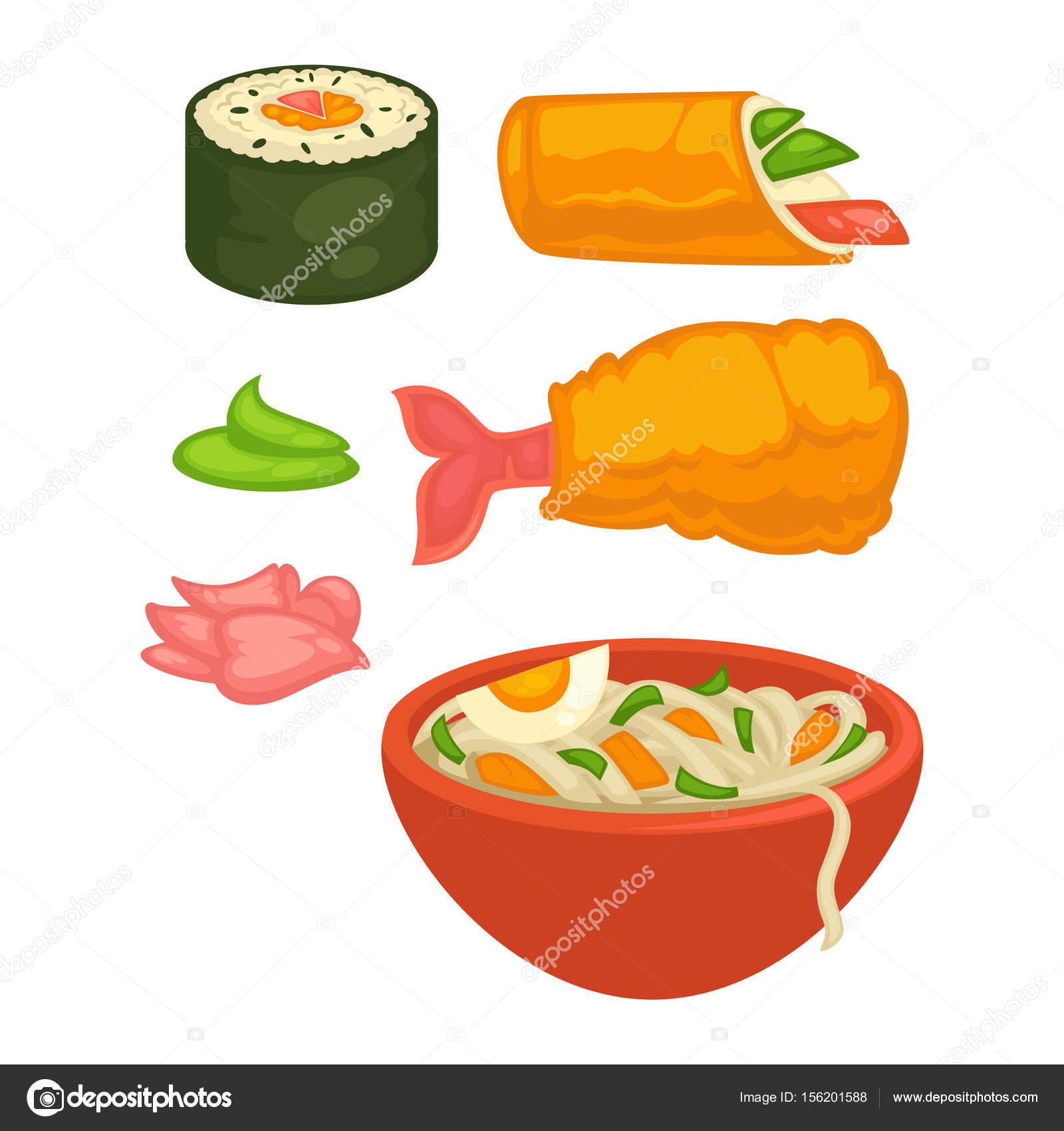Sushi-Rollen und japanische Küche Essen — Stockvektor © Sonulkaster ...