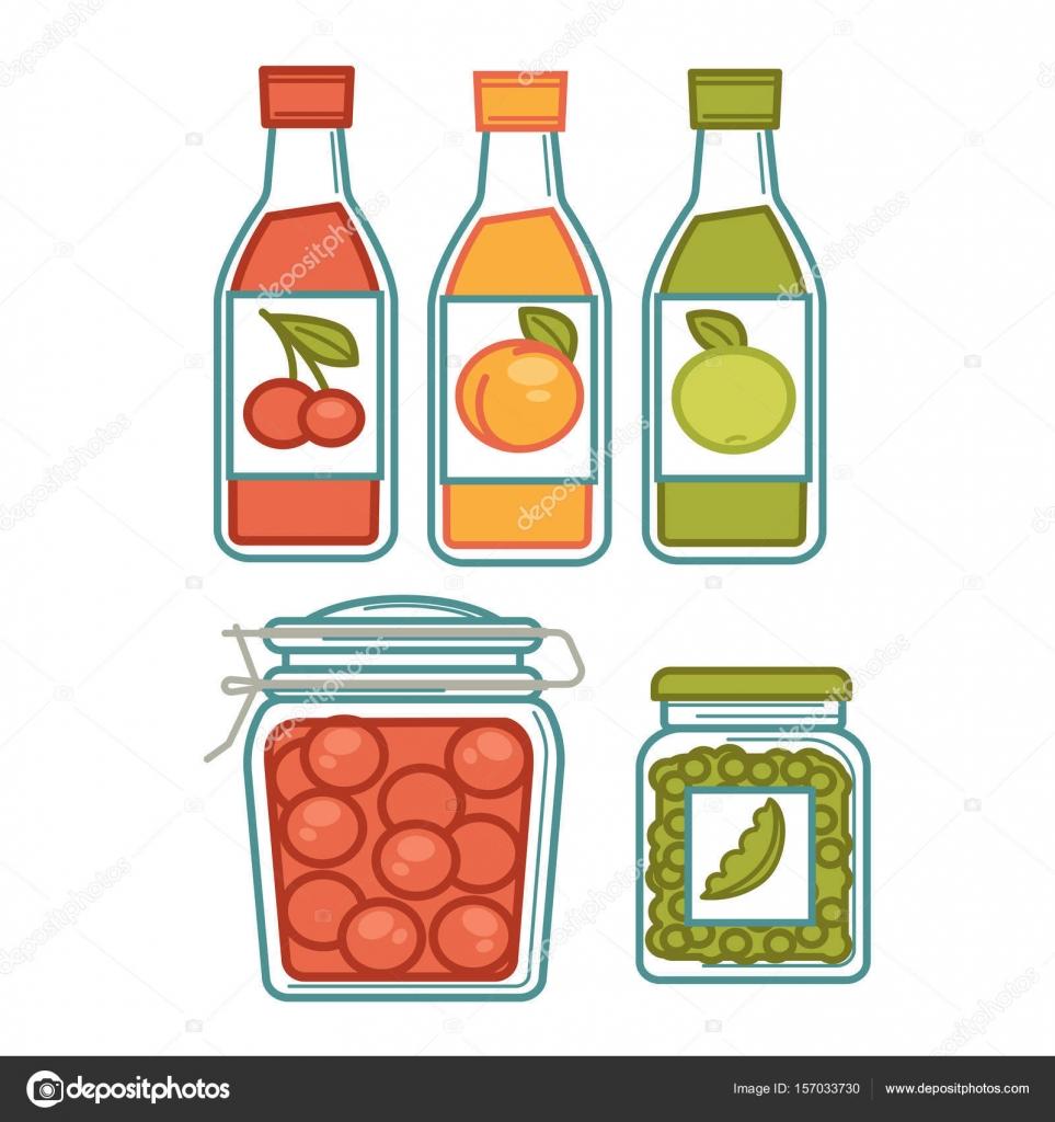 Jugo en botellas y conservas en cartel de tarros — Vector de stock ...