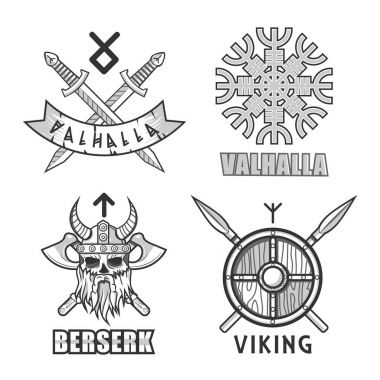 Authentic vikings themed logo isolated monochrome illustrations set