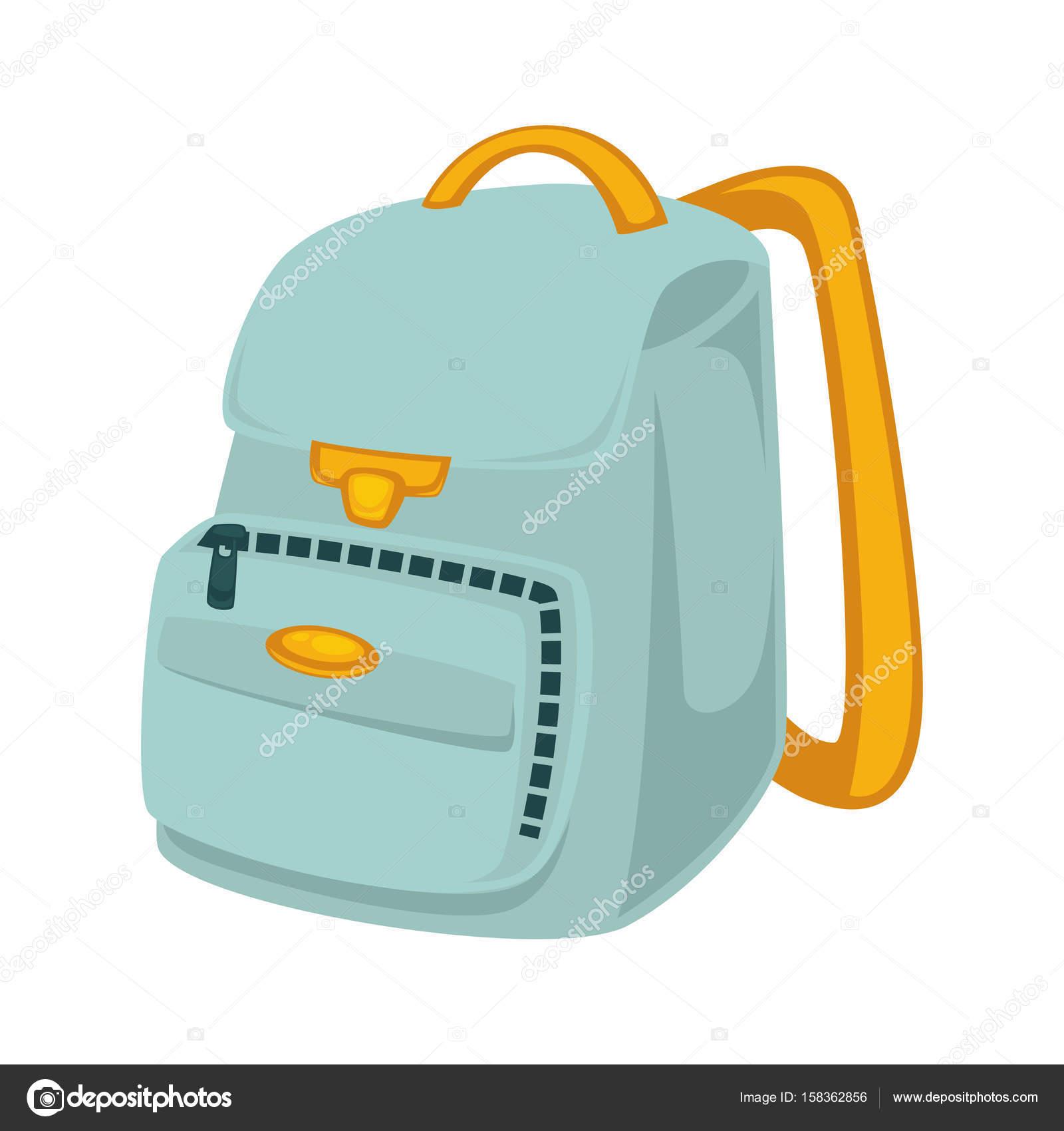 165e211eb0 Backpack σχολείο σε μπλε χρώμα με κίτρινη λαβή και κλιπ που απομονώνονται  σε λευκό διάνυσμα στενή επάνω εικόνα στην επίπεδη σχεδίαση. Τσάντα  κατασκευασμένη ...