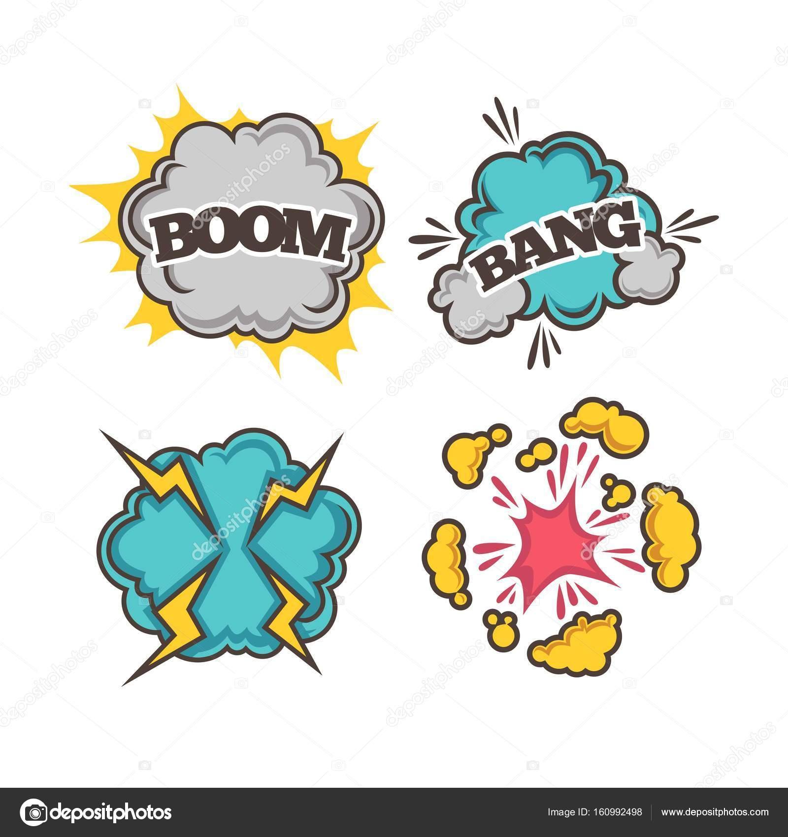 Efectos De Dibujos Animados Coloridos De Boom Vector De Stock