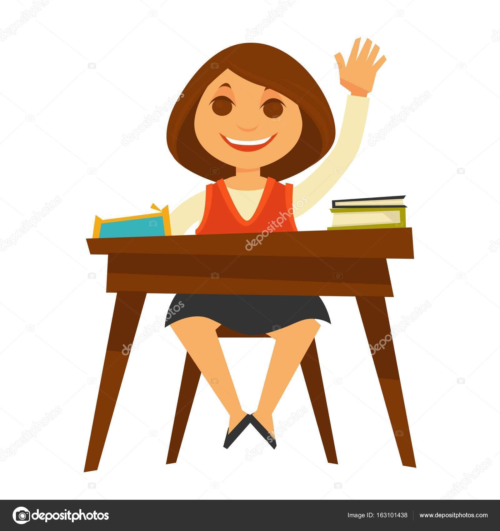 Mädchen In Einheitliche Positionierung Am Schreibtisch Stockvektor