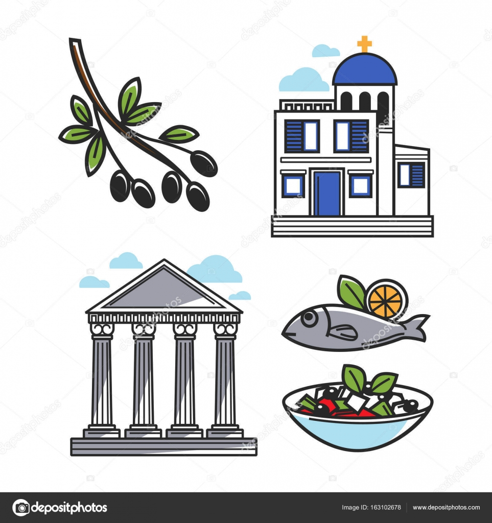 Greek architectural and food symbols stock vector sonulkaster black olive on branch small authentic church ancient columns fish with lemon and greek salad in bowl greece architectural and food symbols isolated biocorpaavc