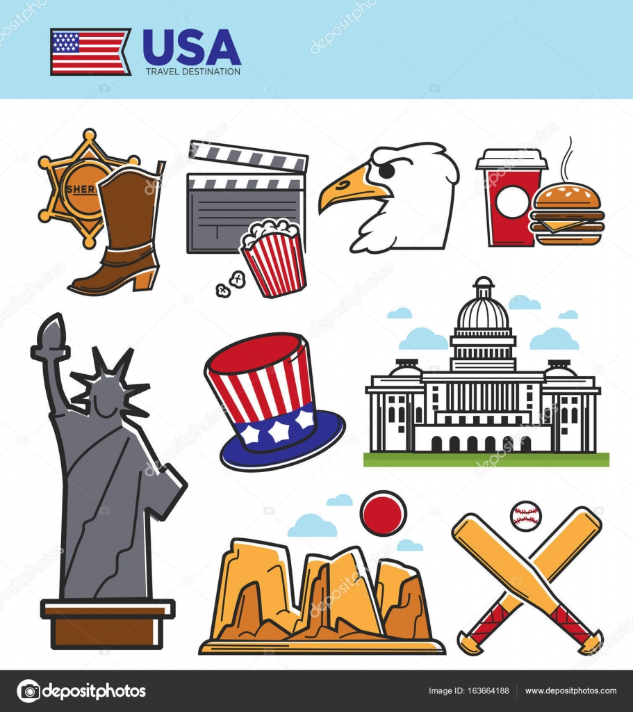 Usa america travel landmarks symbols stock vector sonulkaster usa america travel landmarks or tourist attraction and sightseeing symbols american flag new york liberty statue or us capitol dollar and colorado canyon buycottarizona Image collections