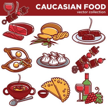 Caucasian food dishes traditional cuisine