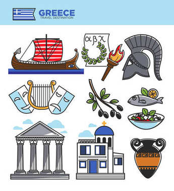 Greece travel tourism landmark symbols