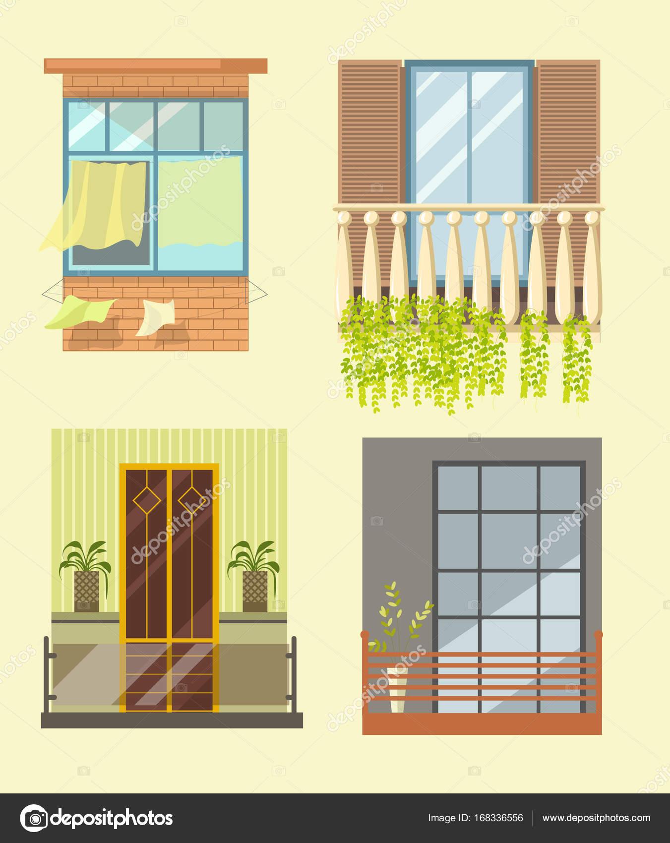 Windows and house balcony exterior facades — Stock Vector