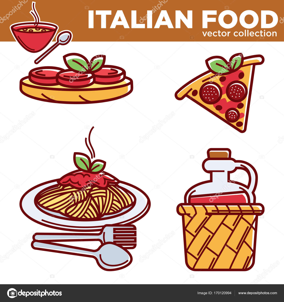 Tradycyjne Potrawy Kuchni Włoskiej Grafika Wektorowa