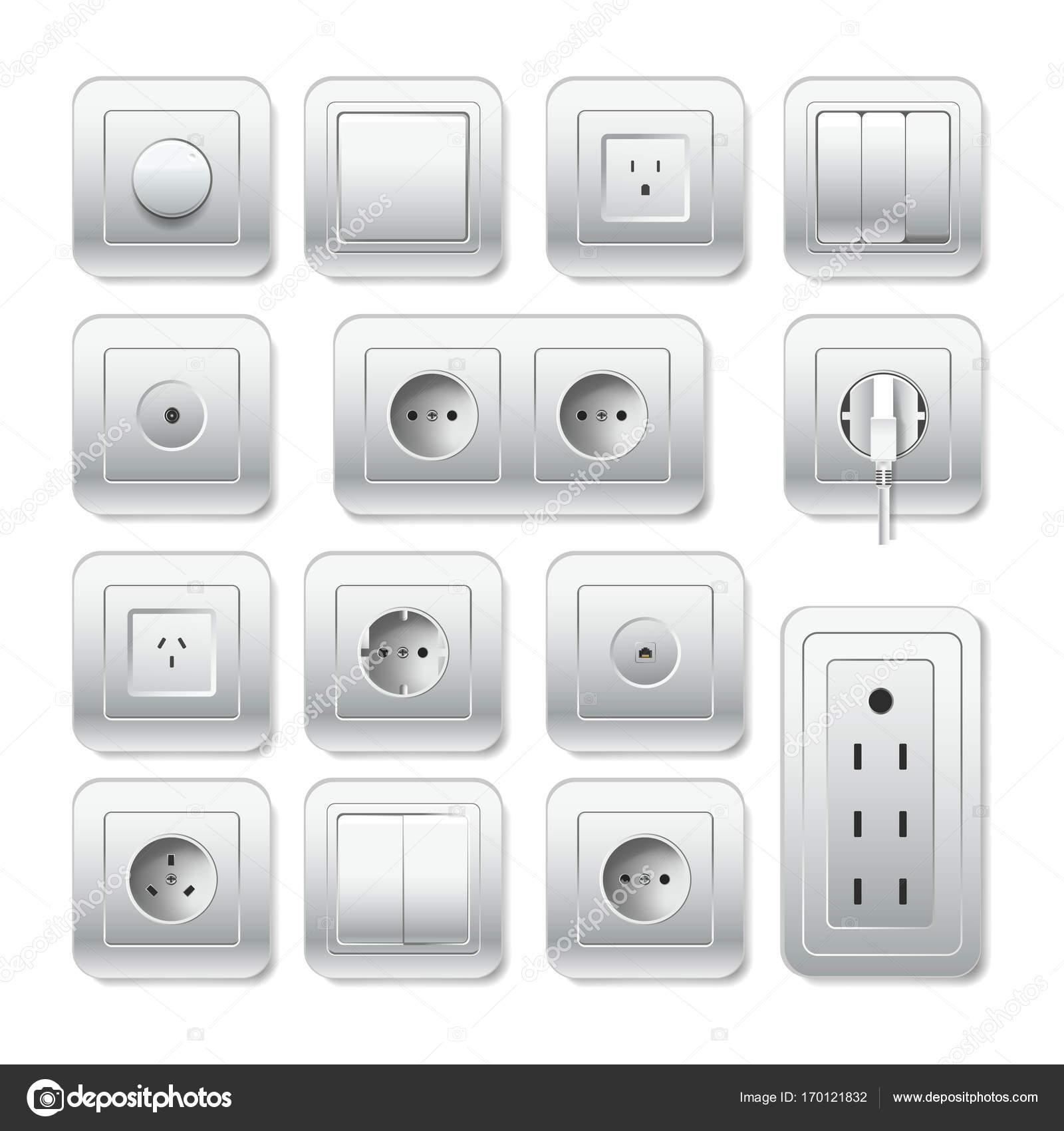 Lichtschalter und Kabel Einlass Symbole — Stockvektor © Sonulkaster ...
