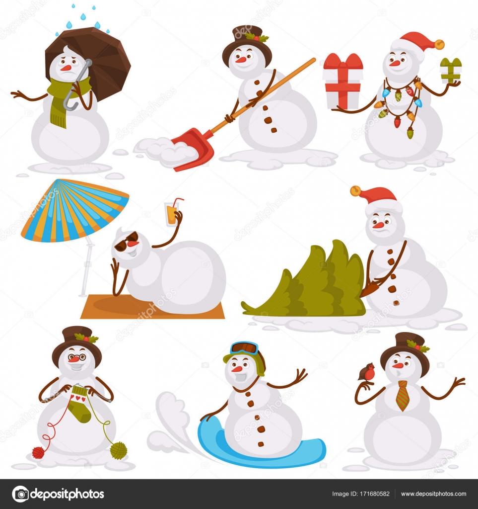 Weihnachts-Schneemann-Santa-Cartoon-Charakter-icons — Stockvektor ...