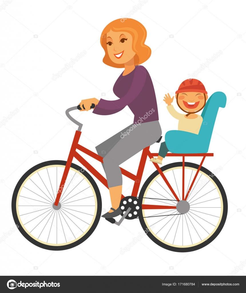 Madre Va In Bicicletta Con Il Neonato Sul Sedile Speciale