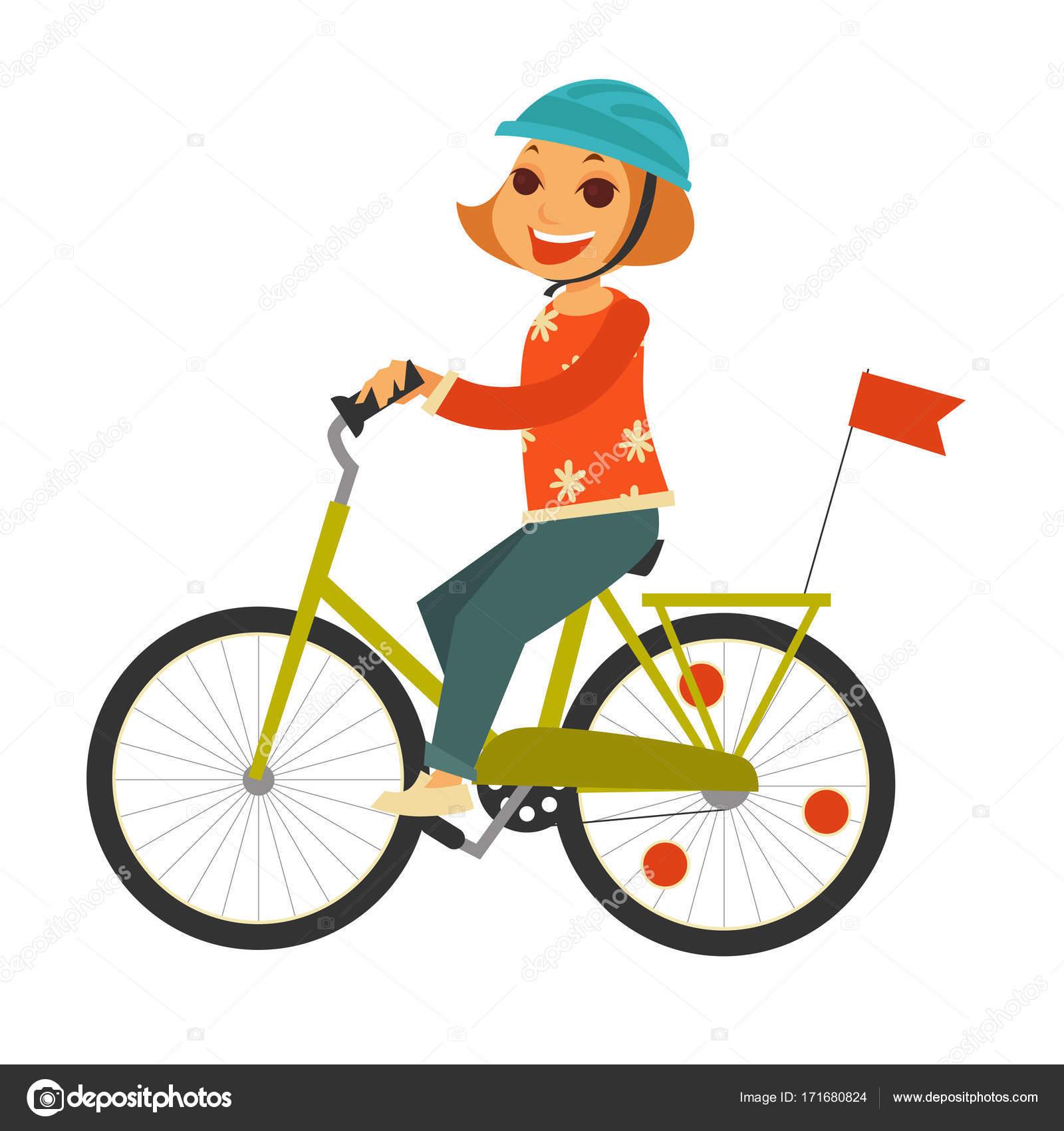 Unikalne Ruda dziewczynka w kasku jedzie rower z flagą — Grafika wektorowa SJ52