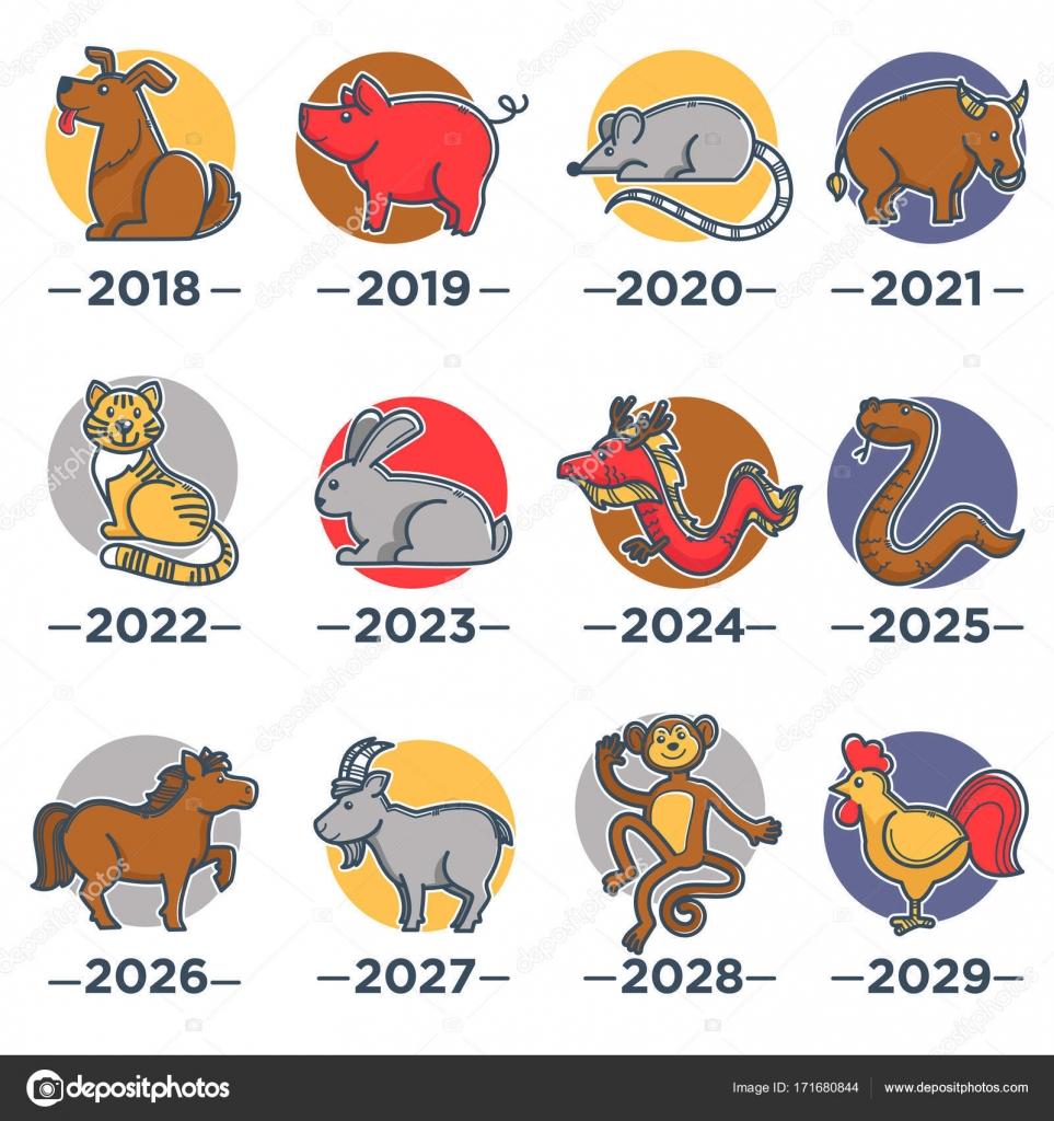 Calendario Cinese 2020.Animali Che Simboleggiano Anni Da Calendario Con L Oroscopo
