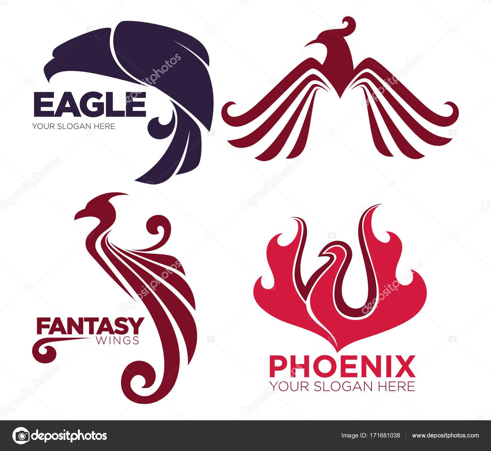 Phoenix Vogel Oder Fantasy Adler Logo Vorlagen Stockvektor
