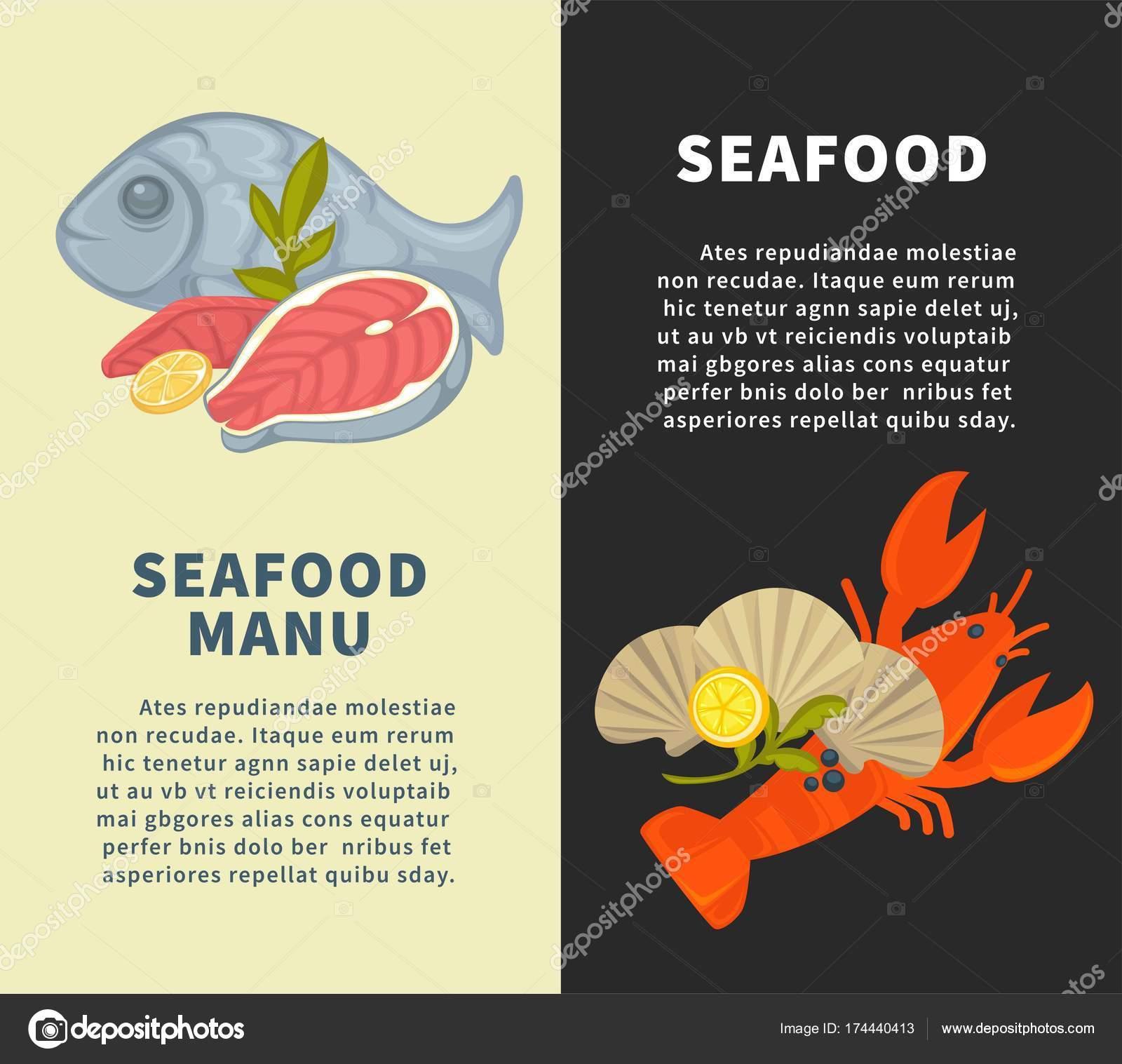 Plantilla Diseño Menú Mariscos Restaurante Pescado Mariscos ...