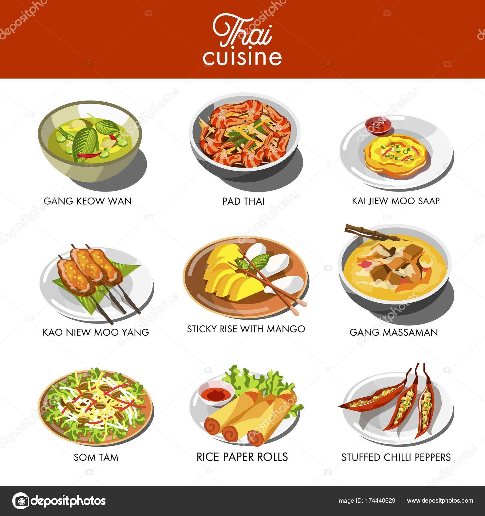 Thai Cuisine Food Traditional Dishes Gang Keow Wan Pad Thai — Stock ...