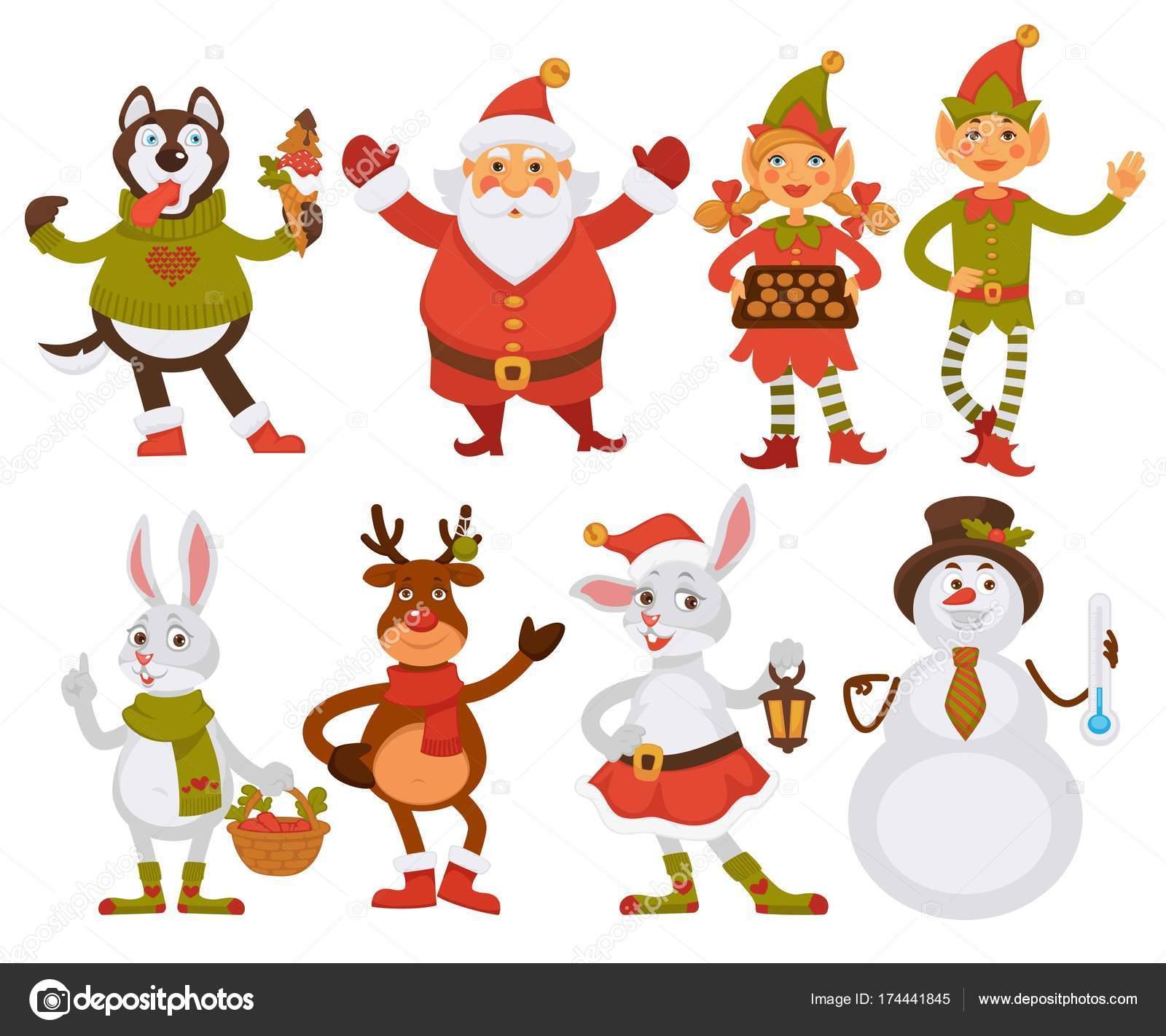 Amigos Santa Navidad Dibujos Animados Iconos Personajes Para ...