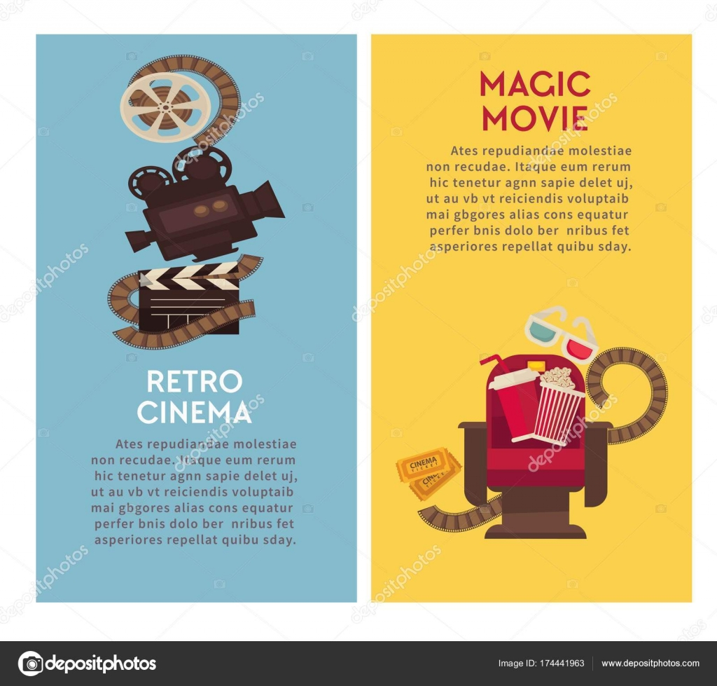 retro cinema and movie theater posters flat design template vector vintage film video camera cinema ticket or 3d stereoscopic glasses and popcorn with