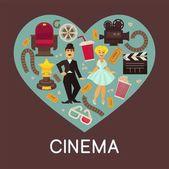Fotografie Kino komerční nápis s kinematografické symboly uvnitř srdce. Charlie Chaplin, Marilyn Monroe a uprostřed starý fotoaparát, dřevěné klapka, 3d brýle a měkké sedadlo vektorové ilustrace