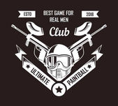 Paintball club logo template of pint ball gun rifles crossed with ribbon. Paintball game sport retro icon of gamer shooting target weapon