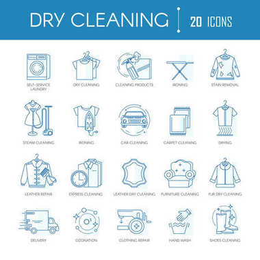 Dry cleaning or laundry service line icons templates for different clothes types, car washing or carpet textile and leather dry clean. Vector symbols and signs set for steam cleaning and ironing clip art vector