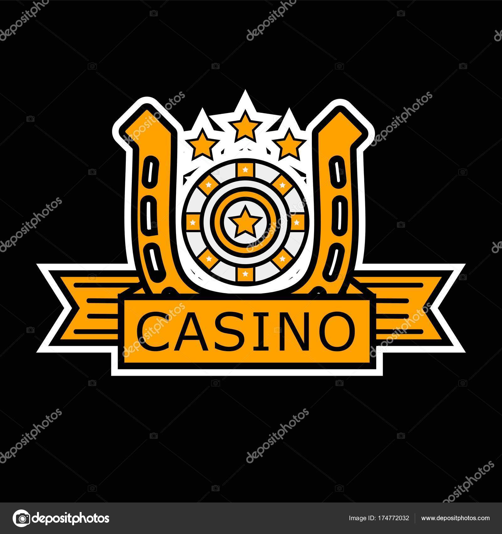 Casino Poker Logo Vorlage Spieler Roulette Und Goldene Hufeisen