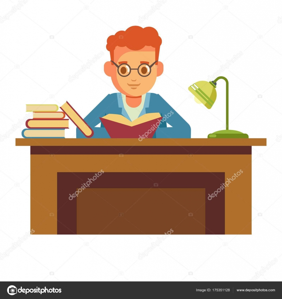 Boy Student Reading Book In Library In Glasses Or Bookshop And Sitting On  Chair At Table With Lamp. Vector Flat Design Of People Read And Study  Education Or ...