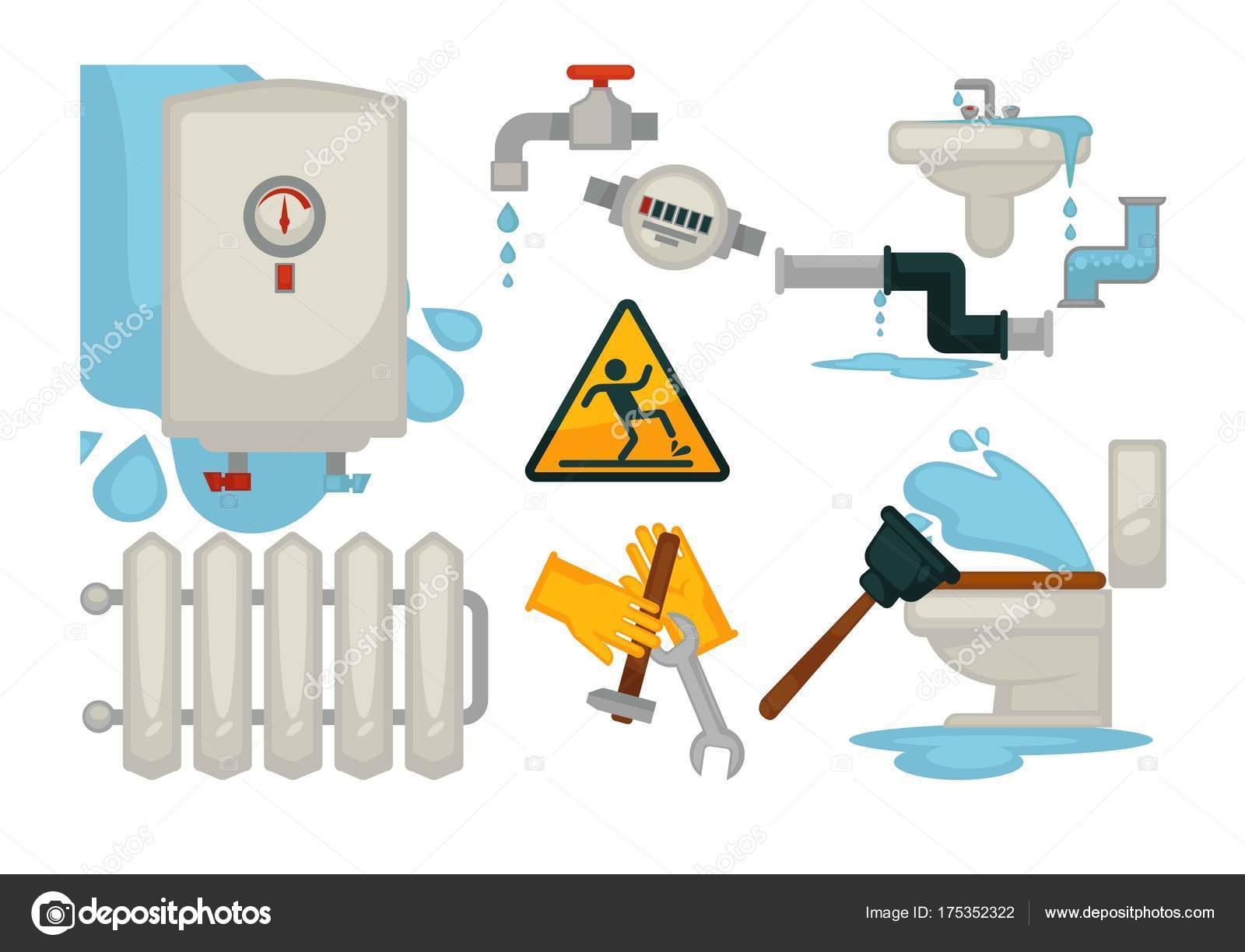 Huis Loodgieters Riolering Water Lekkage Meubilair Loodgieter Tools ...