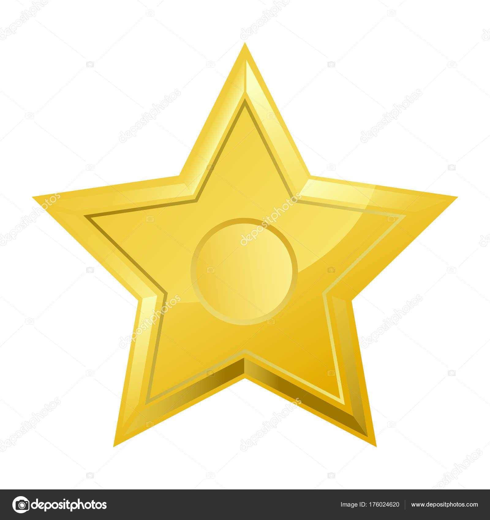 Glänzend Hell Goldenen Fünfzackigen Stern Isoliert Cartoon Gold ...