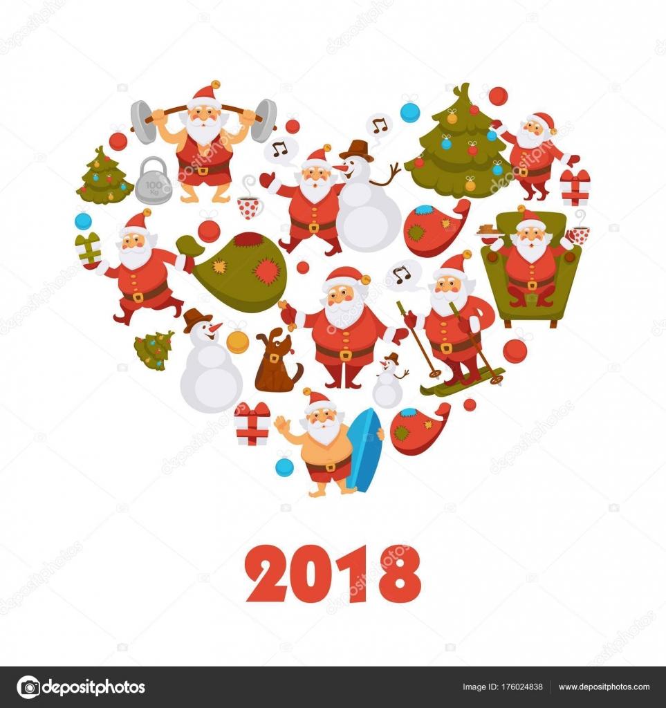 dessin animé pere noel 2018 Affiche Coeur 2018 Dessin Animé Père Noël Bonhomme Neige Chien  dessin animé pere noel 2018