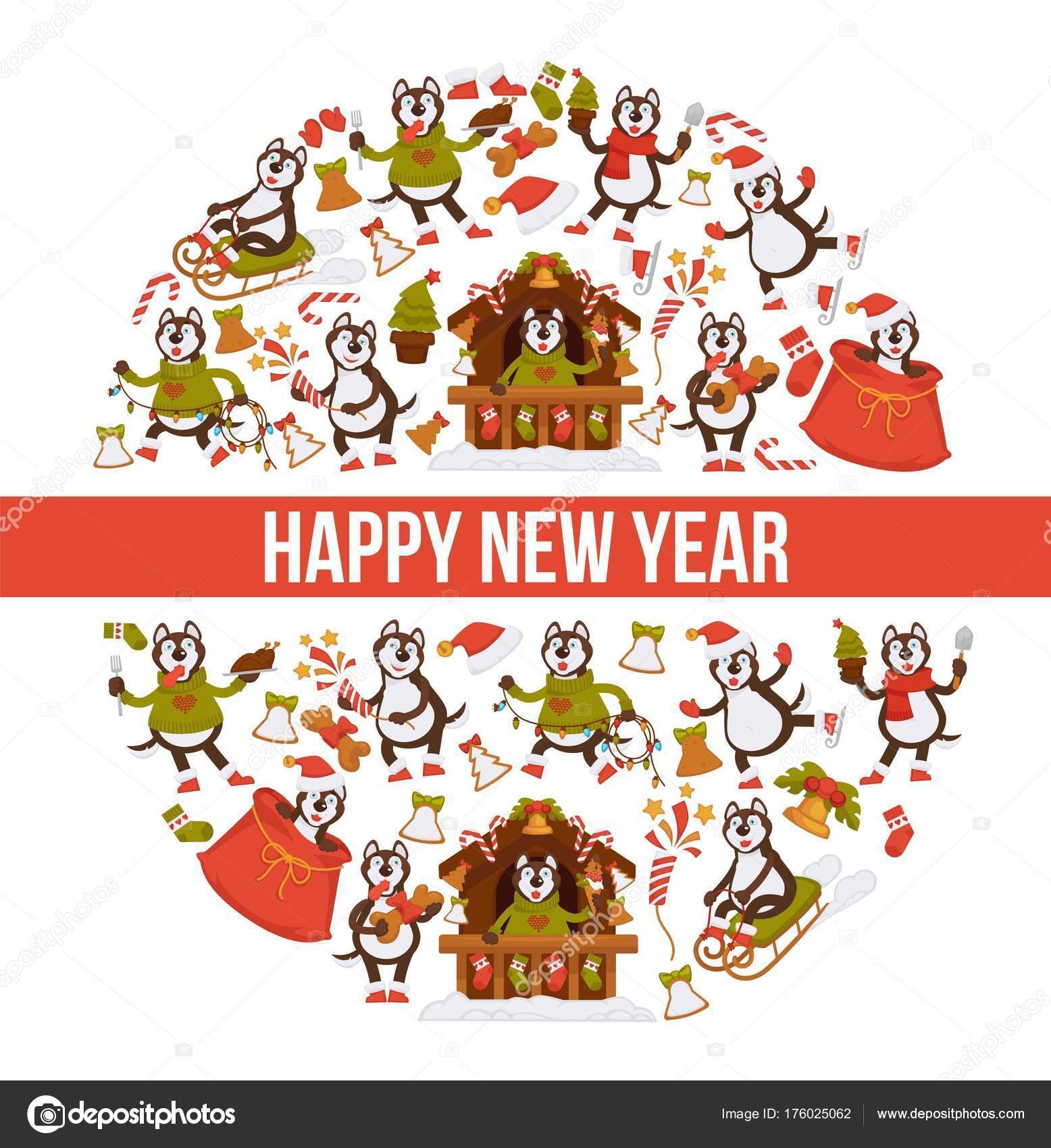 Stastny Novy Rok 2018 Pes Kreslene Pohlednice Sablona Navrhu Ikony
