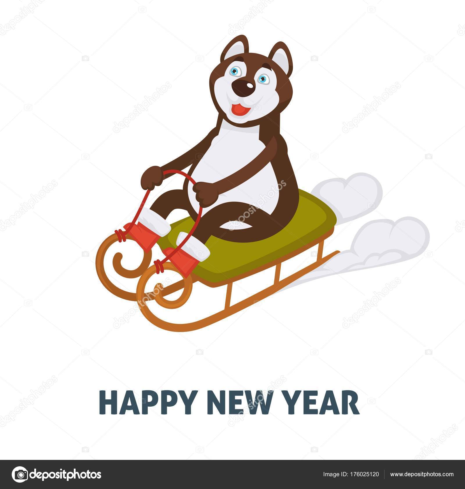 happy new year 2018 cartoon dog celebrating holidays santa sleigh stock vector